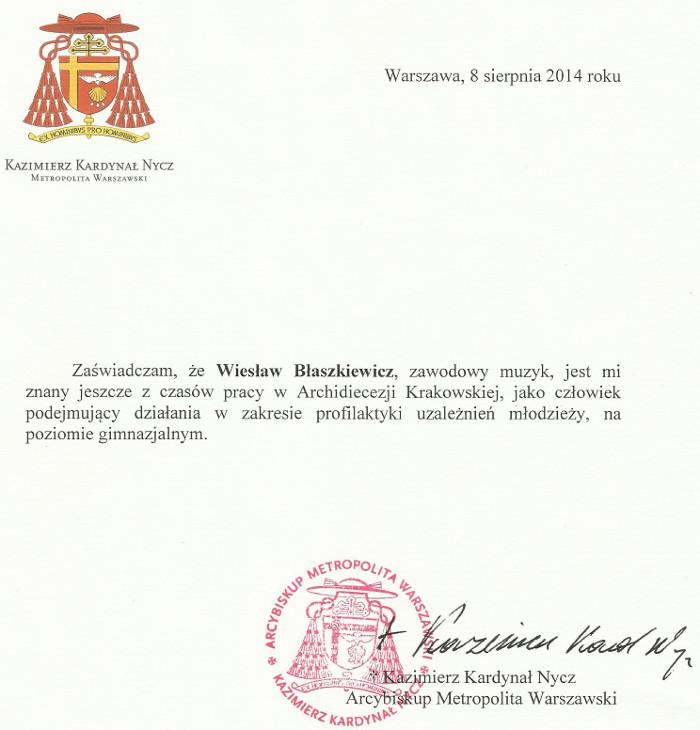 Rekomendacja ks. Kardynała Kazimierza Nycza